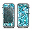 The Vibrant Blue and White Paisley Design  Apple iPhone 5c LifeProof Nuud Case Skin Set