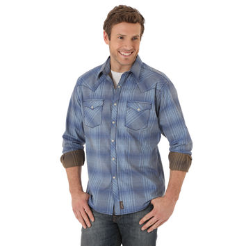 Wrangler Retro Men's Long Sleeve Snap Shirt Light Blue