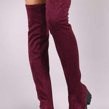 Stretch Suede Lug Sole Over The Knee Boots
