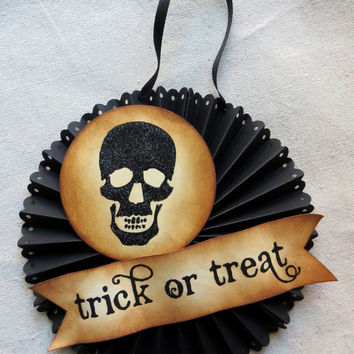 Halloween glittered SKULL door or wall medallion