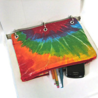 Binder Pencil Case Tie Dye Pencil Pouch for 3 Ring Binder Back to School Supplies Ready to Ship Rainbow Colorful Kids Gift Organizer