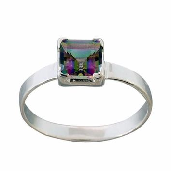 Arvino 925 Sterling Silver Ring With Mystic Quartz Gemstone