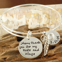 Mom, Thank You for my roots and wings Silver Bangle Bracelet - Alex & Ani Style
