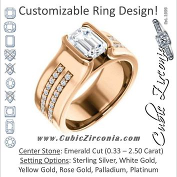 Cubic Zirconia Engagement Ring- The Jennifer (Bezel-set Emerald Cut with Thick Band featuring Double-Row Pavé Accents)