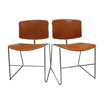 Pre-owned Orange Steelcase School Chairs - A Pair