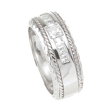925 Sterling Silver Princess Cut Mens Wedding Band 0.25 Carat Weight - Size 9