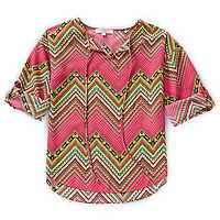 Moa Moa 7-16 Tribal-Printed Top - Pink/Multi