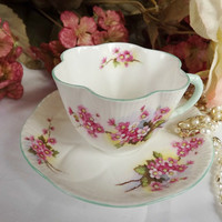 Early Shelley Teacup with Pink Blossoms - Dainty Cup Shape - Teal Handle and Trim - 1938