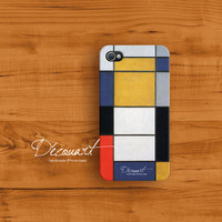 Mondrian iPhone 4 case iPhone 4s case Art drawing by Decouart