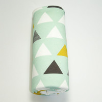 Mint Triangles Organic Cotton Swaddle Blanket, Mint and Mustard Swaddling Blanket, Baby Receiving Blanket, Baby Swaddler, Cotton Blanket