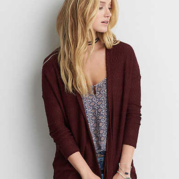 AEO Lightweight Textured Cardigan , Burgundy