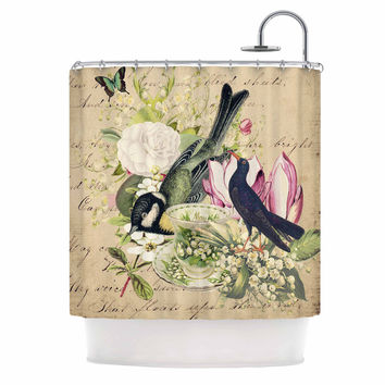 "Suzanne Carter ""Vintage Tea"" Bird Illustration Shower Curtain"