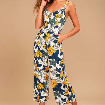 Fiorenza Ivory Floral Print Midi Jumpsuit
