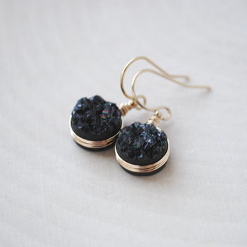 Black Druzy Earrings, Druzy Earrings, Black Drusy Earrings