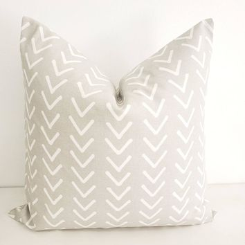 French Grey Boho Print Pillow Cover