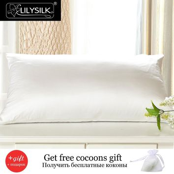 Lilysilk Mulberry Silk Cotton Pillowcase With Hidden Zippe Terse Pillow Cover With Cotton Underside King Queen Standard