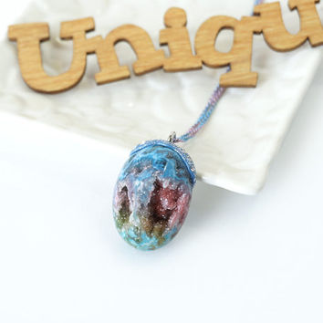 Magic Colorful Druzy Stone Pendant, Geode Crystal Druzy Necklace, Drusy Jewelry from Indonesia