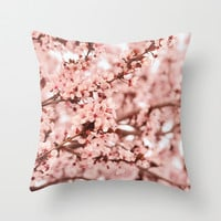 Blissfully Pink Throw Pillow by Lisa Argyropoulos