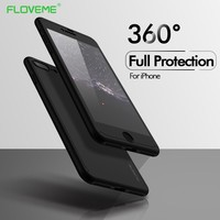 FLOVEME 360 Full Coverage Case For iPhone 6 6s 7 8 Plus X 5s 5 SE Tempered Glass Plastic Back Cover Cases Accessories Capinha