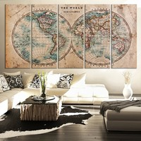 Large Vintage WORLD MAP Canvas Print Art  - Antique World Map Canvas 5 Piece Canvas Art Print - Large Wall Art Canvas World Map - MC103