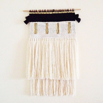 woven wall hanging / dark moon weaving / hand woven wall art tapestry / made to order