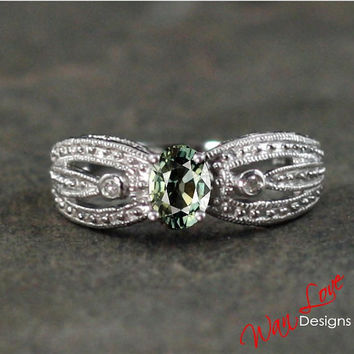 Green Sapphire & Diamond Oval filigree milgrain ring white-yellow-rose gold-Custom made size-Wedding-Engagement-Anniversary-Layaway 14k