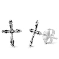 Sterling Silver Gothic Cross Earrings