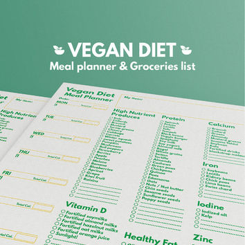 Weekly Meal Planner Vegan Diet and Grocery List Printable Letter, Health Planner, Weekly meal planner, Diet planner, Calories ,Shopping list