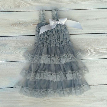 Lace flower girl dress, rustic flower girl dress, vintage baby dress, beach flower girl dress, light grey dress, charcoal grey dress