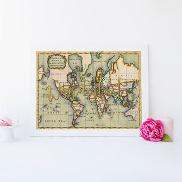 """World Map Poster Travel Quote Graduation Gift World Map Poster """"Wanderlust"""" Inspirational Quote Vintage Map World Map Print INSTANT DOWNLOAD"""
