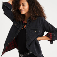 AEO Plaid-Lined Denim Cabin Shirt, Black