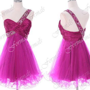 One Shoulder Mini Short Hot Pink Satin and Tulle Prom by Formals