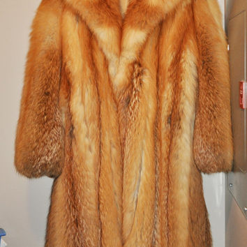 Women's Genuine Red Winter Fox Fur Coat, Long, Size 10-12