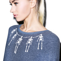 Wildfox Couture Skeleton Necklace Baggy Beach Jumper Midnight
