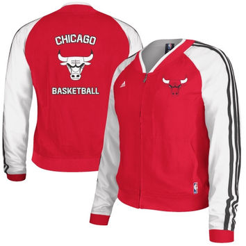 adidas Chicago Bulls Ladies On-Court Woven Full Zip Track Jacket - Red/White
