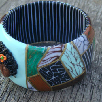 polymer clay bracelet-bright bracelet-abstract bracelets-round bracelets,mosaic,imitation