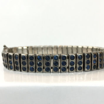 Vintage Sterling Silver Paste Bracelet Art Deco Sapphire Blue Rhinestone Bracelet 20s Crystal Bangle Estate Antique Jewelry Wedding Bracelet