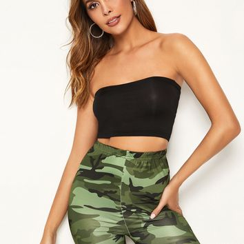 Crop Tube Top With Camo Print Cycling Shorts
