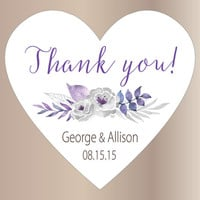 24 Wedding stickers | Thank you stickers wedding | Wedding favor labels | Heart stickers | Custom bridal shower stickers | Purple and silver