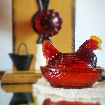 Vintage Small Amber Glass Hen Rooster Nesting Dish, Taiwan, Collectible Glass, Salt Dish, Trinket Dish