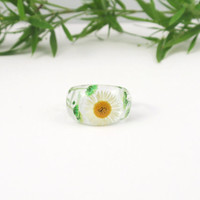 Nature ring, Pressed flower jewelry, Real flower Resin ring, Resin ring,  Flower in resin, Botanical ring, Eco resin, Jewellery, bridesmaid