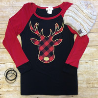Reindeer in Plaid Top