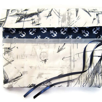 Pencil Roll/ Crochet Hook Case/ Cosmetic Brush Roll/  Arts and Crafts storage/ Sailing boat and anchors
