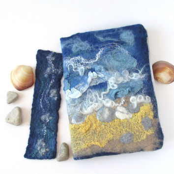 Felted journal notebook cover  blue sea beach  gift under 25