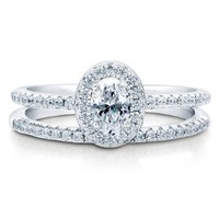 BERRICLE Sterling Silver AAA Cubic Zirconia CZ Halo Womens Wedding Bridal Ring Set