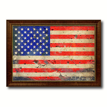 American Flag Vintage USA Canvas Print with Brown Picture Frame Home Decor Man Cave Wall Art Collectible Decoration Artwork Gifts