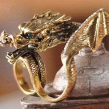 Lucky Dragon Two Finger Ring   LilyFair Jewelry