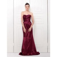 Sheath Strapless Sweep Train Elastic Satin Bridesmaid Dress SSC0356