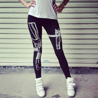 women legging fitness punk style gothic american apparel Harajuku Gun /Work out print slim sexy sportwear free shipping