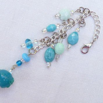 Bag Charm, Dangle, Zip, Zipper Pull, Pale Turquoise Beads, Czech Glass Beads, Silver plated